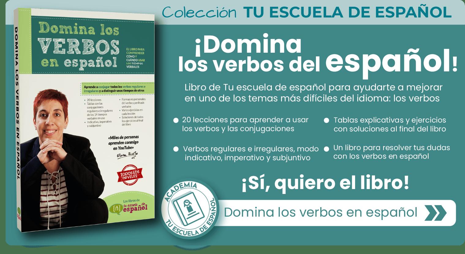 Banner libro de verbos de Tu escuela de español
