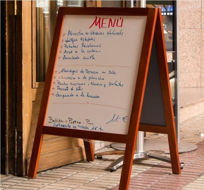 Menú del día de un restaurante de España