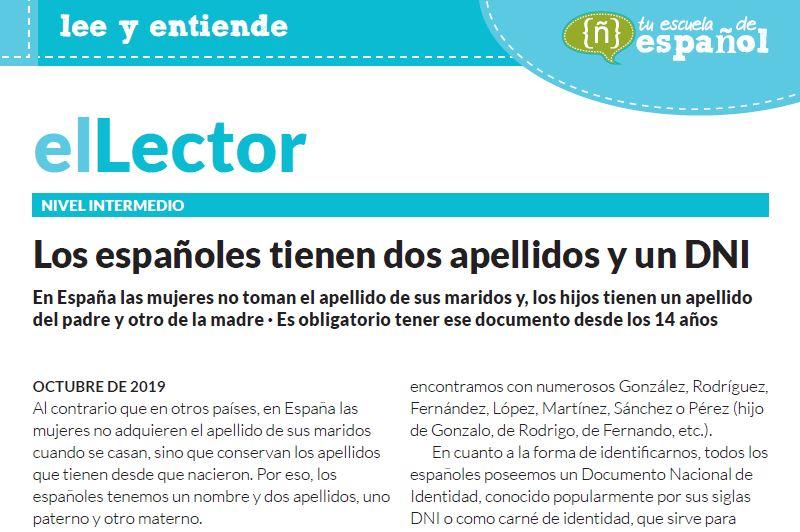 Texto sobre los dos apellidos y la identificación personal de los españoles