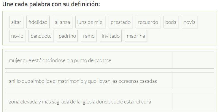 Ejercicio para practicar el vocabulario de las bodas en España