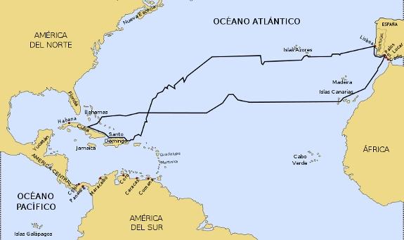 Recorrido del primer viaje de Colón a América