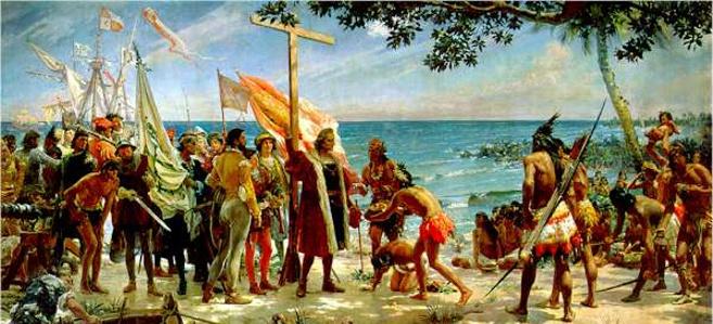 Primeros homenajes a Colón en el Nuevo Mundo, cuadro de José Garnelo y Alda