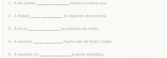 Ejercicio para practicar el verbo gustar