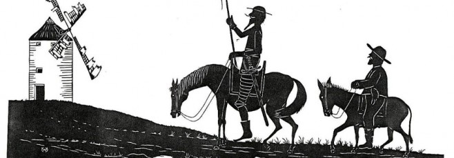 Ilustración de Don Quijote y Sancho Panza frente a un molino