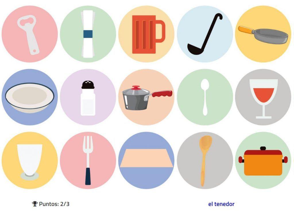 Practica el vocabulario de los utensilios de cocina y mesa for Elemento de cocina negro