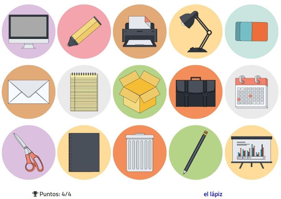 aprende y practica el vocabulario de los objetos de oficina