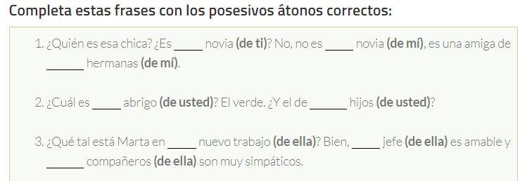 formas de los posesivos átonos tu escuela de español