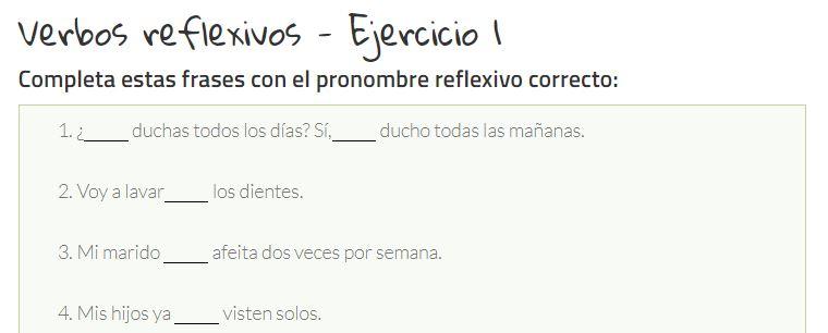 Ejercicio para practicar los verbos reflexivos en español