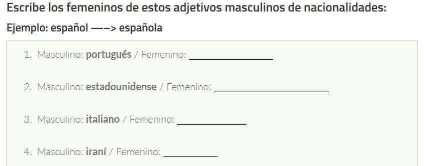 Ejercicios para practicar los adjetivos de las nacionalidades en español