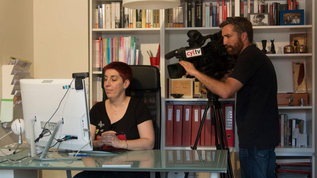 Grabación de la entrevista para Castilla y León Televisión