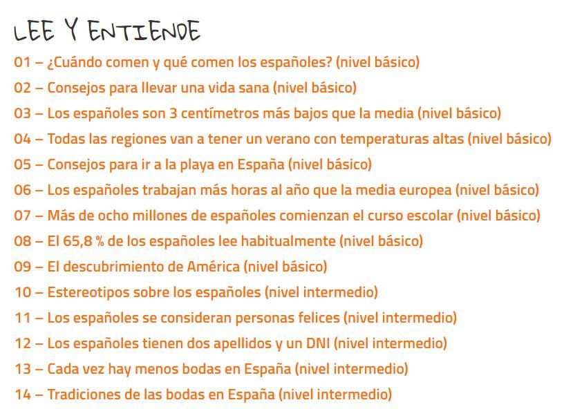 Índice del curso online para mejorar la comprensión de textos y audios en español