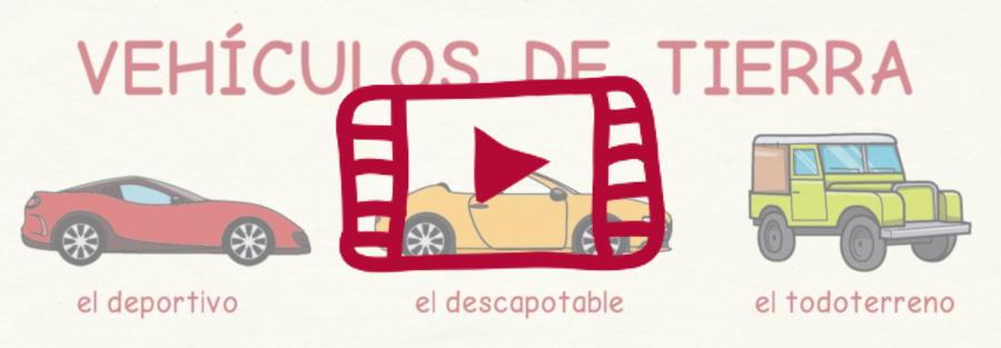 Vídeo con vocabulario en español de los vehículos de tierra, mar, aire y espacio