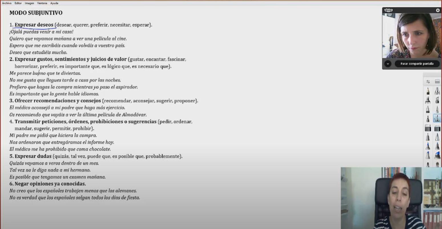 Ejemplo de clase por Skype de español como lengua extranjera